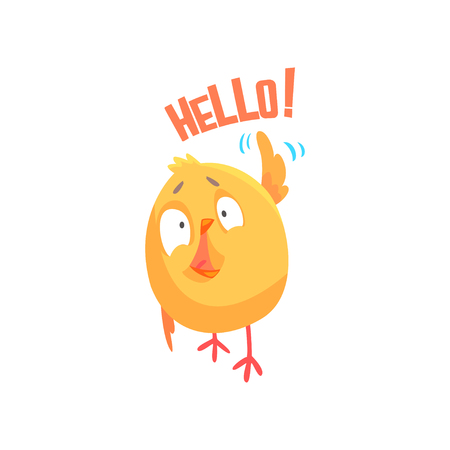 Funny cartoon comic chicken with phrase Hello vector Illustration 向量圖像