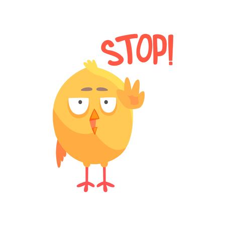 Arrêter, poulet comique de dessin animé drôle montrant vecteur de geste de la main Illustration Banque d'images - 88589899