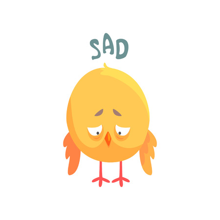 Funny sad cartoon comic chicken vector Illustration