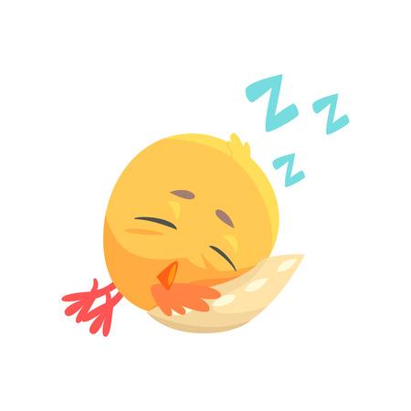 Funny cartoon comic chicken sleeping on a pillow vector Illustration Illustration