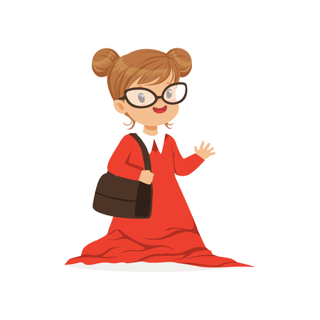 Beautiful girl wearing dult oversized red dress, kid pretending to be adult vector Illustration