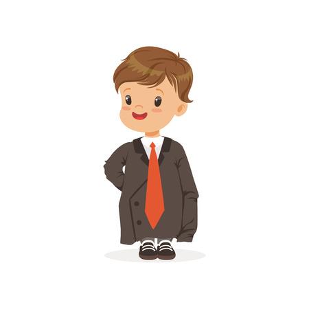 귀여운 소년 dult 대형 양복을 입고, 어른이 될 수있는 척 벡터 일러스트 레이션 일러스트