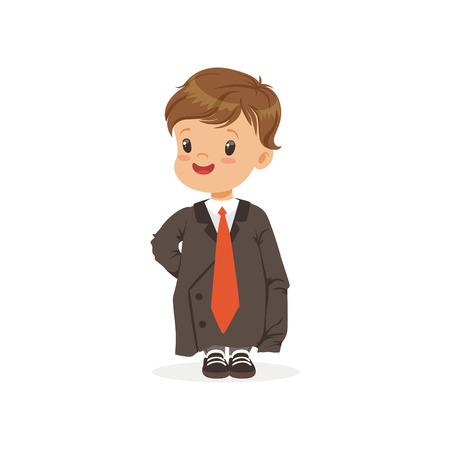 Cute boy wearing dult oversized suit, kid pretending to be adult vector Illustration