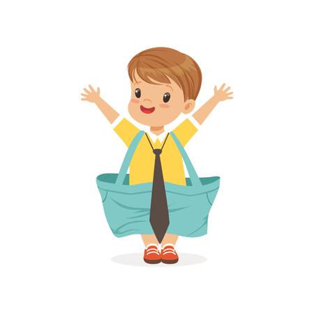 Niño pequeño con dult pantalones cortos y corbata de gran tamaño, niño pretendiendo ser vector adulto Ilustración Foto de archivo - 88589912