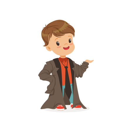 Adorable boy wearing dult oversized suit, kid pretending to be adult vector Illustration