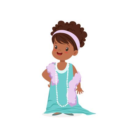 Hermosa chica africana con dult vestido azul claro de gran tamaño y perlas, niño pretendiendo ser vector adulto Ilustración Foto de archivo - 88589919
