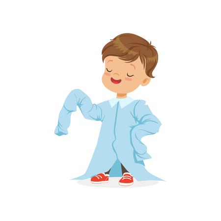 Cute boy wearing dult oversized light blue shirt, kid pretending to be adult vector Illustration Illustration