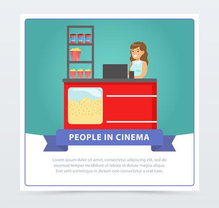 Saleswoman selling popcorn, people in cinema banner flat vector element for website or mobile app