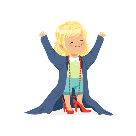 Lovely blonde girl wearing dult oversized clothes and red high heels, kid pretending to be adult vector Illustration