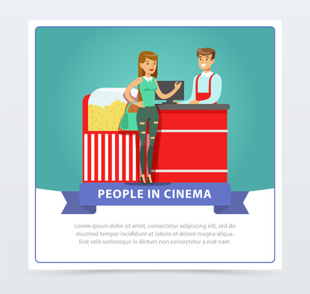 Young woman buying popcorn from salesman, people in cinema banner flat vector element for website or mobile app