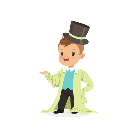 Adorable boy wearing dult oversized clothes and black top hat, kid pretending to be adult vector Illustration