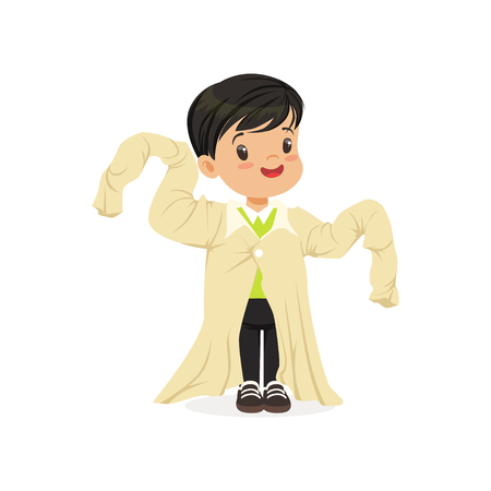 ark haired boy wearing dult oversized clothes, kid pretending to be adult vector Illustration Illustration