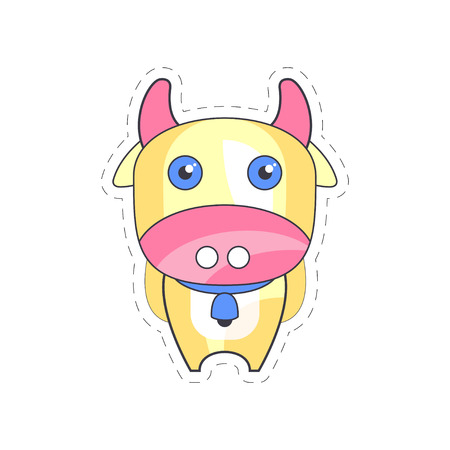 Sweet funny cow colorful cloth patch, applique for decoration kids clothing cartoon vector Illustration on a white background Stok Fotoğraf - 88699574