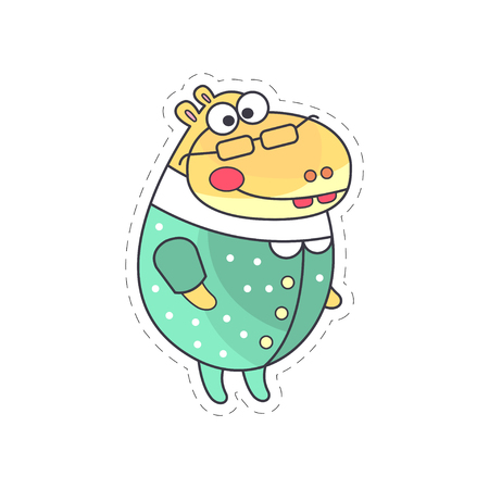 Cute funny hippo in green suit cloth patch, applique for decoration kids clothing cartoon vector Illustration on a white background