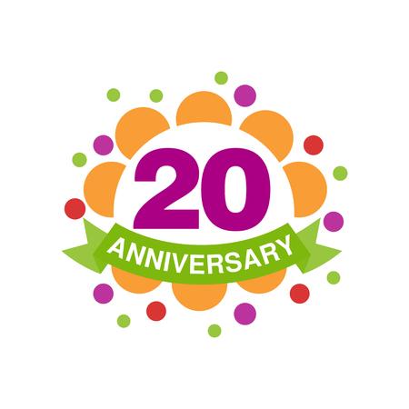20th anniversary colored design, happy holiday festive celebration emblem with ribbon vector Illustration on a white background Ilustração