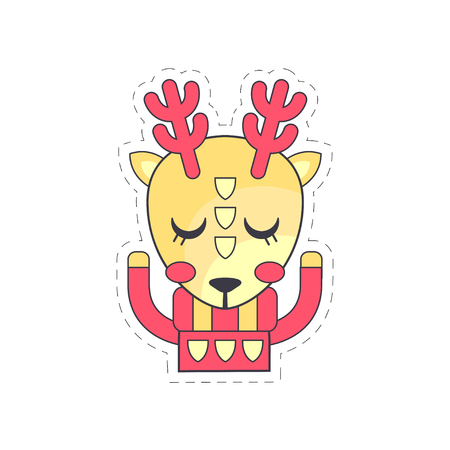 Cute fawn colorful cloth patch, applique for decoration kids clothing cartoon vector Illustration on a white background