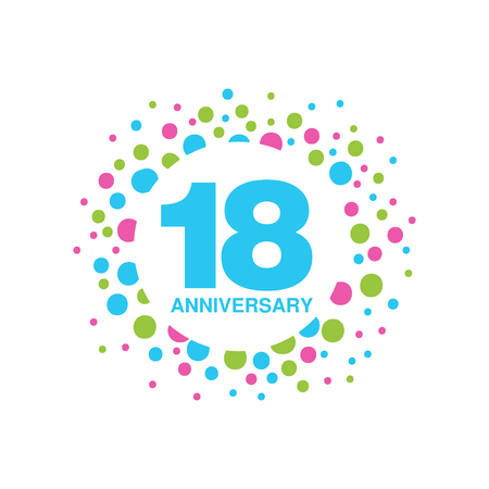 18th anniversary colored design, happy holiday festive celebration emblem vector Illustration on a white background