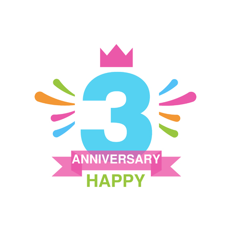 3rd anniversary colored design, happy holiday festive celebration emblem with ribbon vector Illustration on a white background