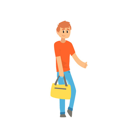 Man traveler with bag, hitchhiker guy trying to stop a car on a highway by hand, travelling by autostop cartoon vector Illustration on a white background