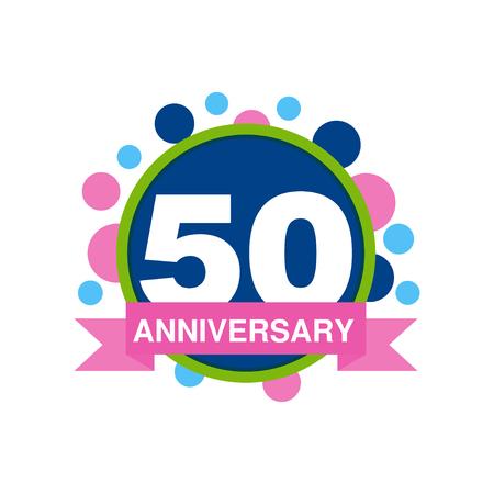 50 周年記念色デザイン、白地にリボン ベクトル図と幸せな休日お祭りお祝いエンブレム