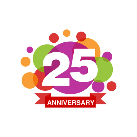 25th anniversary colored design, happy holiday festive celebration emblem with ribbon vector Illustration on a white background Stock Vector - 88704355
