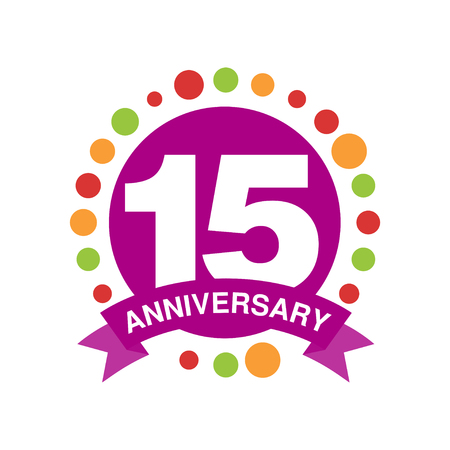 15th anniversary colored design, happy holiday festive celebration emblem with ribbon vector Illustration on a white background