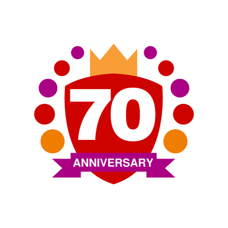 seventy: 70th anniversary colored design, happy holiday festive celebration emblem with ribbon vector Illustration on a white background