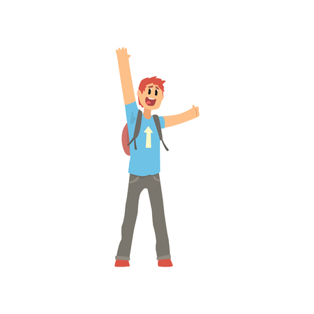 Young traveler man with backpack, hitchhiker man trying to stop a car on a highway by waving hands, travelling by autostop cartoon vector Illustration on a white background