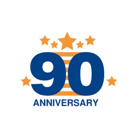 90 周年記念塗装デザイン、白地にリボン ベクトル図と幸せな休日お祭りお祝いエンブレム