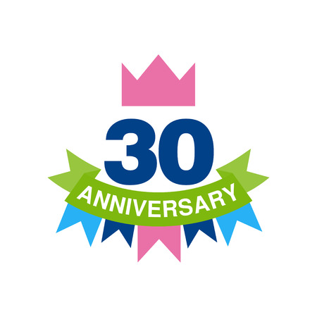 30th anniversary colored design, happy holiday festive celebration emblem with ribbon vector Illustration on a white background