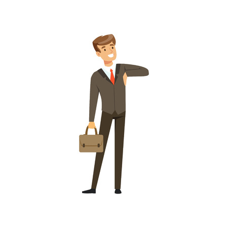 Smiling successful businessman character in suit standing with briefcase vector Illustration isolated on a white background