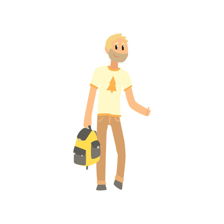 Cartoon man traveler with bag, hitchhiker man trying to stop a car on a highway by hand, travelling by autostop vector Illustration on a white background