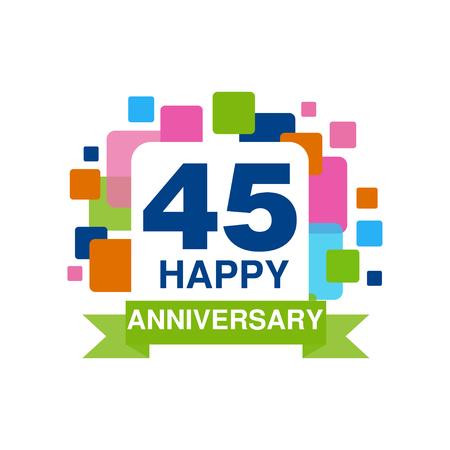 ●45周年記念カラーデザイン、ハッピーホリデーのお祝いのエンブレムが白い背景にリボンベクトルイラスト付き