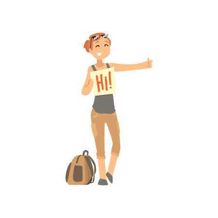 Cartoon traveler girl hitchhiker holding banner, woman trying to stop a car on a highway, travelling by autostop vector Illustration on a white background