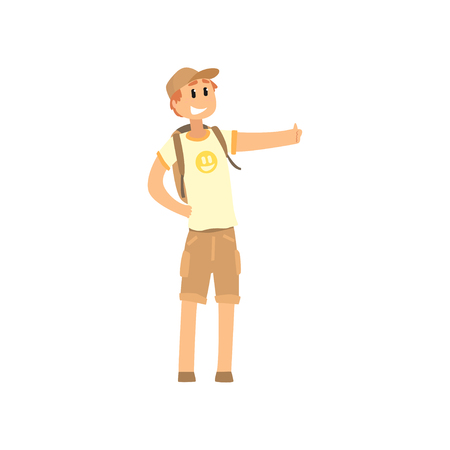 Young male hitchhiker traveling with backpack, man trying to stop a car on a highway by hand, travelling by autostop cartoon vector Illustration on a white background