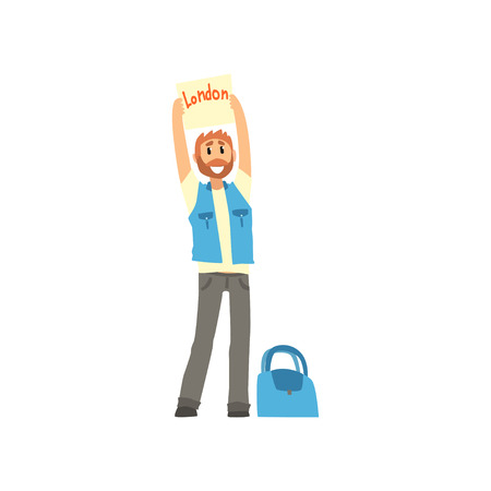Cartoon traveler man hitchhiker holding banner with the inscription London, man trying to stop a car on a highway, travelling by autostop vector Illustration on a white background Illustration
