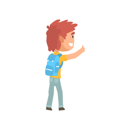 Cartoon male traveler hitchhiker with backpack, man trying to stop a car on a highway by hand, travelling by autostop vector Illustration on a white background Illustration