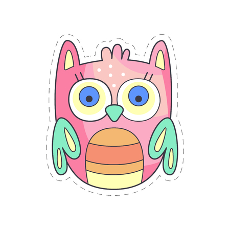 Cute owl colorful cloth patch, applique for decoration kids clothing cartoon vector Illustration