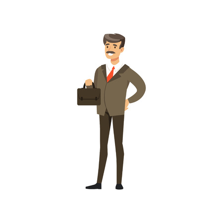 Smiling mature successful businessman character in suit standing with briefcase vector Illustration isolated on a white background