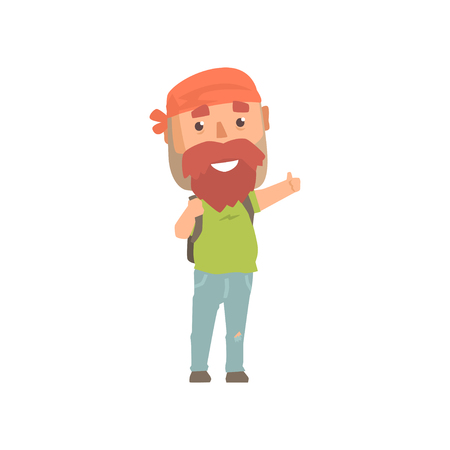 Hipster man traveler with backpack, hitchhiker man trying to stop a car on a highway by hand, travelling by autostop cartoon vector Illustration