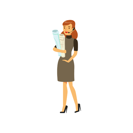 Businesswoman character in formal wear and headset standing with paper rolls vector Illustration on a white background 向量圖像