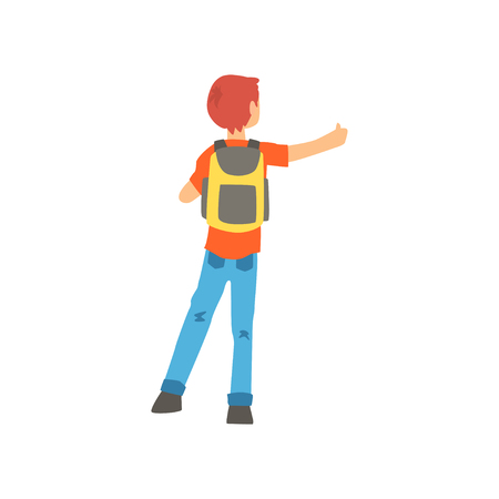 Young male hitchhiker traveling with backpack, man trying to stop a car on a highway by hand, back view, travelling by autostop cartoon vector Illustration Stock Vector - 88706370