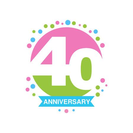 40ste verjaardag gekleurd ontwerp, het gelukkige embleem van de vakantie feestelijke viering met lint vectorillustratie Stock Illustratie