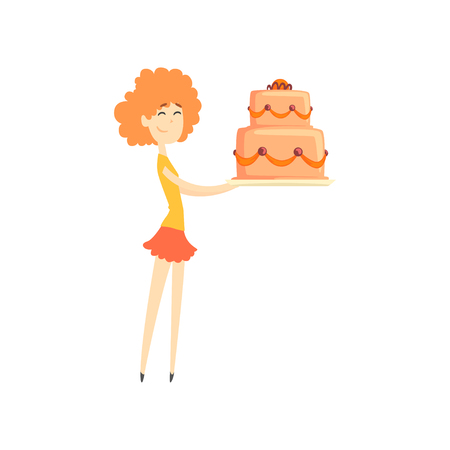 Smiling redhead girl holding big festive cake cartoon vector Illustration