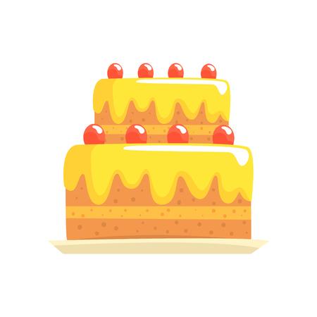 Happy birthday party cake with cherries, sweet dessert cartoon vector Illustration