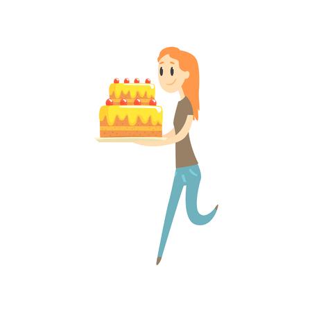 大きなお祝いケーキ漫画ベクトル図を持って幸せな赤毛の女の子 写真素材 - 88706392