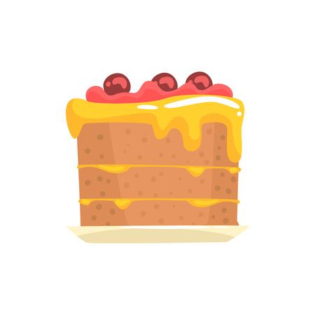 Festive cake with cherries, sweet dessert cartoon vector Illustration