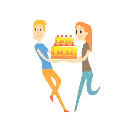 Young couple holding festive cake cartoon vector Illustration Vectores