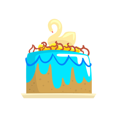 Cake for the holiday with swan, cartoon vector Illustration on a white background