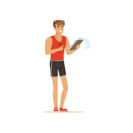entraîneur de conditionnement physique avec le plan de formation illustration vectorielle
